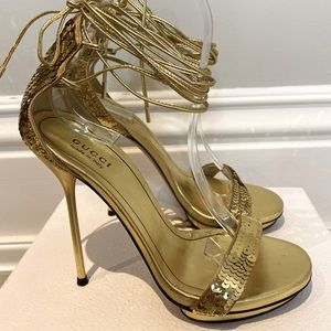 Gucci Sequinned Gold Strappy Sandals